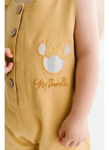 Minnie Mouse Lisanslı Bebek Askılı Kısa Tulum 17342 Hardal
